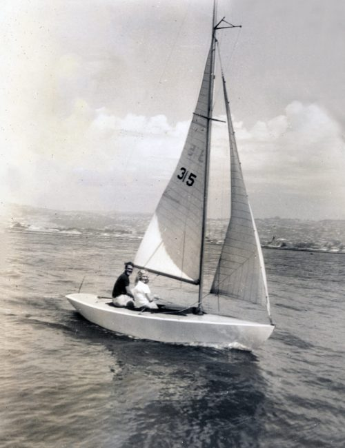 Jocelyn and Gordy sailing on their Mercury