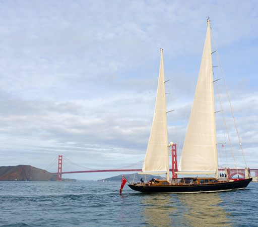 Ron Holland design, Thalia, sailing in San Francisco.