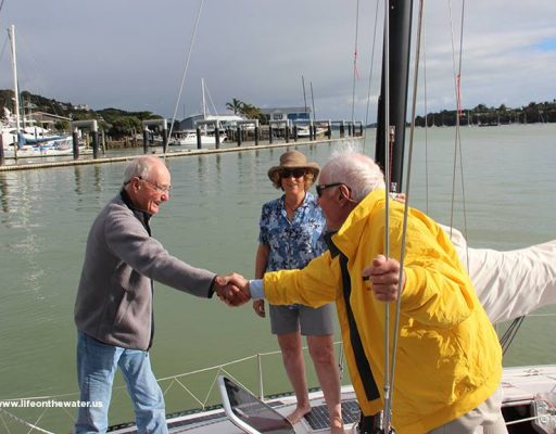Webb Chiles meets Commodore and Nancy for the first time, New Zealand