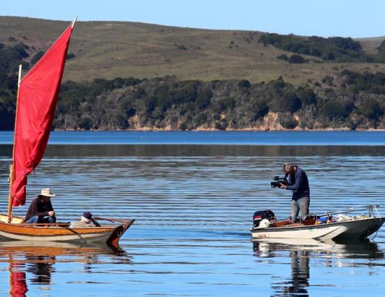 Oleg filming Jack on his dorry in Tomales Bay