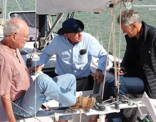 Commodore and Webb Chiles sharing sea stories on Flashgirl